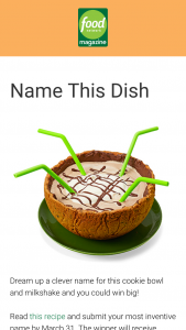 Food Network Magazine – April 2020 Name This Dish Contest – Win a $500 check (Total ARV $500).
