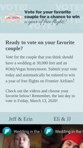 Frontier Airlines – #weddinginthesky – Win a year of free flights (24 round-trip vouchers each valued at $250 per vouchers) on Frontier Airlines to anywhere that Frontier Airlines flies