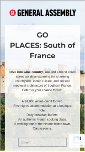 General Assembly – Go Places South Of France 2020 – Win A $1000 travel credit issued via giftcard (ARV $1000).