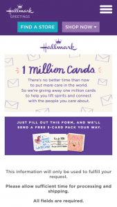 Hallmark – 1 Million Cards Giveaway Sweepstakes