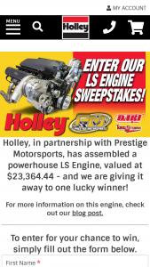 Holley – 2020 Ls Engine – Win one (1) LSNEXT-427-B1-C1 TORQUE STORM