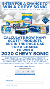 Kimberly Clark – 2020 Scott Towels Calculate How Many Scott Products Are Inside The #37 Scott Car And Win – Win an all-new 2020 Chevy Sonic