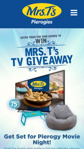 Mrs T's Pierogies – TV Giveaway – Win A one-year supply of Mrs T's Pierogies via fifty-two (52) coupons
