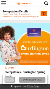 Regal Crown Club – Regal Burlington Spring Style Shopping Spree – Win one First Runner Up will be awarded a $100 Burlington gift card and a Second Runner Up will be awarded a $50 Burlington gift card