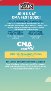 Reser's – Cma Fest Sweepstakes