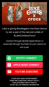 "Sony Music Entertainment – 2020 Luke Combs Lc2 Crocs Giveaway – Win one (1) pair of LC2 Crocs shoes (the ""Prize"")."
