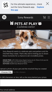 Sony Rewards – Superfan Pets At Play Contest And Voting – Win Alpha z7R IV Camera (model #ILCE7RM4) and a FE 24-105mm F4 G OSS Lens (model #SEL24105G) (ARV $4699.98).
