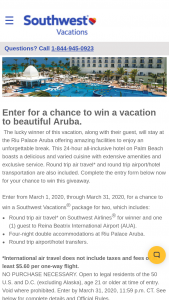 Southwest Vacations – March Aruba – Win round trip air travel on Southwest Airlines® for winner and