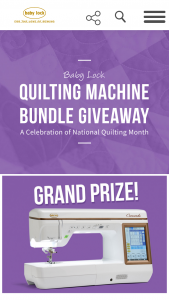 Tacony – Baby Lock 2020 National Quilting Month Sweepstakes