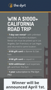 The Dyrt – California Road Trip Giveaway – Win value of $1050) $700 Travellers Autobarn voucher$100 Banner & Oak gift card$100 Liquid IV gift card$250 VISA gift card