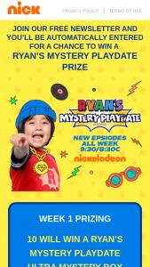 Viacom – Ryan's Mystery Playdate Season 3 Sweepstakes