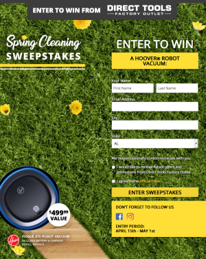 Direct Tools Factory Outlet – Win a Rogue 970 Robot Vacuum