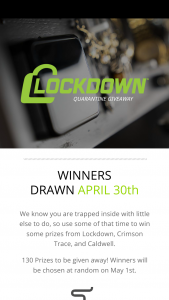 Battenfeld Technologies – Quarantine Giveaway – Win awarded to each winning contestant is between $10 – $389.99.