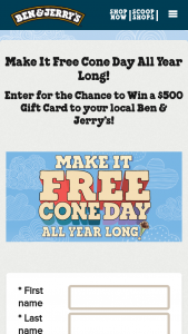 Ben & Jerry's – Free Cone Day Scoop Shop 2020 – Win year of free ice cream