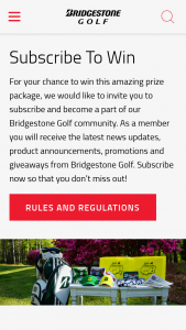 Bridgestone – Golf April Giveaway – Win Retail Value $587.98 per