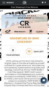 Club Ride – Adventure By Bike Giveaway Sweepstakes