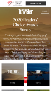 Conde Nast Traveler – Readers' Choice – Win an approximate retail value of $25000.00.