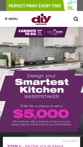 Diy – Design Your Smartest Kitchen – Win a $5000 Cabinets To Go gift card