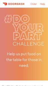 Doordash – #doyourpart – Win gift card of $25.00 USD