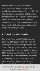 Esp Guitar – Esp Engl Rockmaster 20 – Win an LTD Deluxe SN-1000FR in Pearl White finish an ENGL Rockmaster 20 combo amplifier and an ESP/TKL Premium Gig Bag case