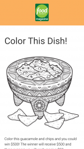 Food Network Magazine – May 2020 Color This Dish Contest – Win a $500 check (Total ARV $500).