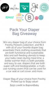 Freshly Picked – Pack Your Diaper Bag Giveaway Sweepstakes