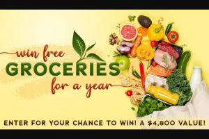 Gannett Media – Free Groceries For A Year – Win will be awarded $4800.00 in the form of a check made payable to the Winner