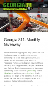 Georgia 811 – Monthly Giveaway Sweepstakes
