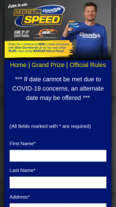 Goody's – Secret To Speed – Win a trip for two (2) to Mooresville