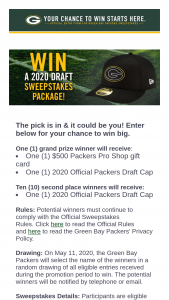 Green Bay Packers – 2020 Draft – Win one (1) $500 Packers Pro Shop Gift Card and one (1) Packers 2020 Draft Cap