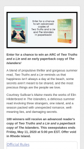 Harpercollins – Meg Mitchell Moore – Win $16.99 Estimated retail value of all prizes $1699.00