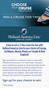 Holland America Line – 7-day Choose Your Cruise 2020 Sweepstakes