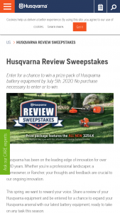Husqvarna – 2020 Review Sweepstakes