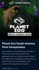 Intel Gaming Access – Planet Zoo South America Dlc – Win a Planet Zoo kit prize