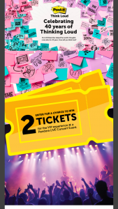 3m Company Post-It – 40th Anniversary Pandora Live – Win a trip for winner and one guest to New York