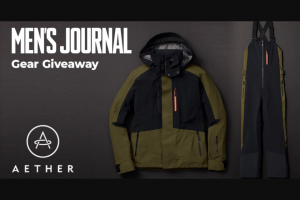 Men's Journal – Aether Jacket And Bib – Win win an AETHER Stealth Snow Jacket and AETHER Stealth Snow Bib