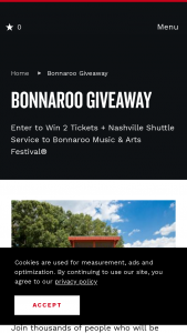 Nashville Convention & Visitors Corp – Bonnaroo Giveaway Sweepstakes
