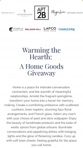 One Mercantile – Warming The Hearth A Home Goods Giveaway Sweepstakes