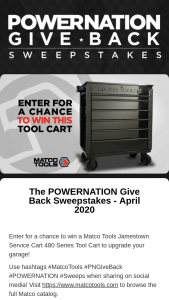 Powernation – Give Back – Win one (1) prize consisting of Jamestown Service Cart 480 Series Tool Box worth $1500.