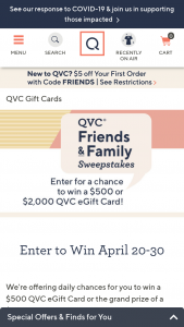 QVC – Friends And Family – Win be awarded a $2000 QVC eGift card