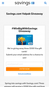 Savingscom – Valpak Giveaway – Win a $500.00 USD VISA e-gift card