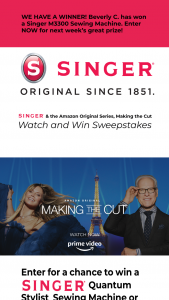 Singer And Amazon – Making The Cut Watch And Win Sweepstakes