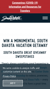 South Dakota Department Of Tourism – Great Giveaway – Win $3000 credit to be applied to the costs of lodging