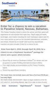 Southwest – Bahamas Sweepstakes