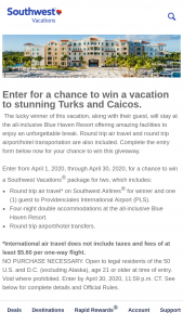 Southwest Vacations – April Sweepstakes