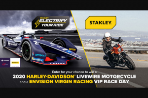 Stanley Black & Decker – Stanley Tools Electrify Your Ride – Win First Prize Winner is the only entrant from this Sweepstakes who will be eligible for a chance to win the Grand Prize