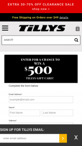 Tillys – $500 Gift Card – Win One $500 Tillys gift card