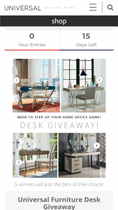Universal Furniture – Desk Giveaway – Win may choose from Zephyr Writing Desk OR Playlist Writing Desk Console OR Escape Coastal Living Home Postcard Writing Table OR Nina Magon Duchamps Writing Desk (includes delivery).