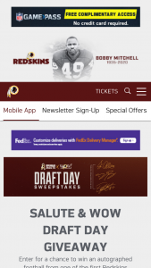 """Washington Redskins – Draft Day – Win one of the prizes (each a """"Prize"""" and collectively the """"Prizes"""") listed immediately below  (a) Prize #1 One football autographed by Dwayne Haskins"""