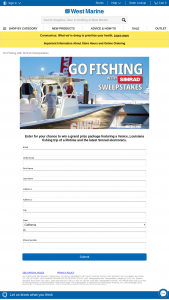 West Marine – Go Fishing With Simrad Sweepstakes